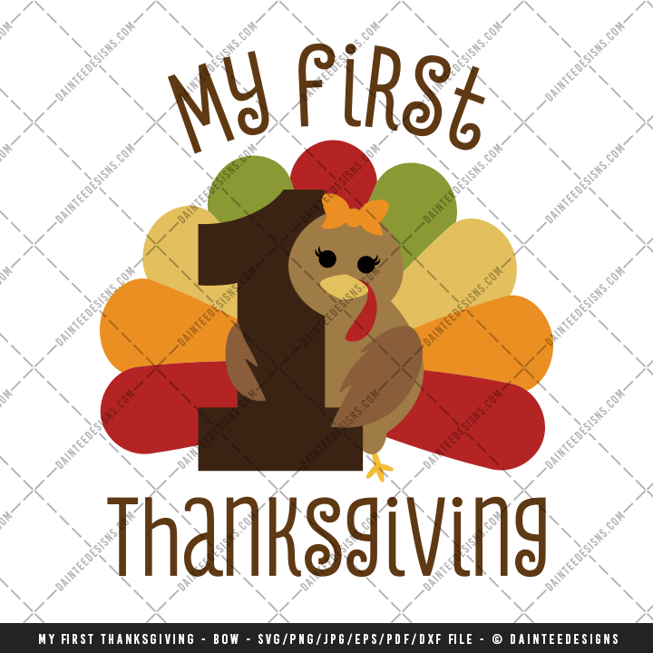 My First Thanksgiving Bow SVG DXF EPS Digital
