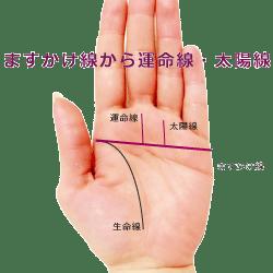 ますかけ線から太陽線と運目線が伸びている手相