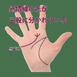 感情線の先が三つ股に分かれている手相|フォーク状画像