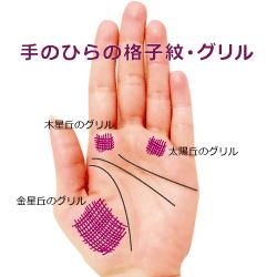 手のひらのグリル格子紋