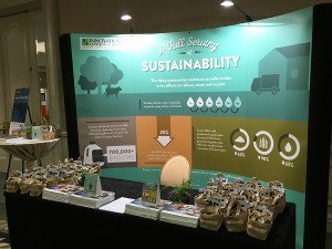 The booth where conference attendees could stop and learn about dairy sustainability. They also got to take home a CowPots pot!