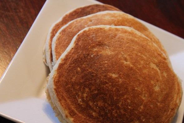 Stack of 3 golden dairy free, egg free Bisquick Pancakes