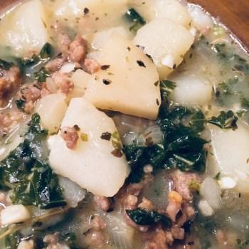 Bowl of Dairy Free Zuppa Toscana