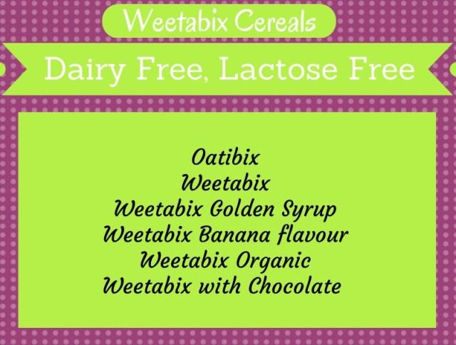Weetabix Dairy Free List