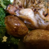 Roast chicken, potatoes and kale