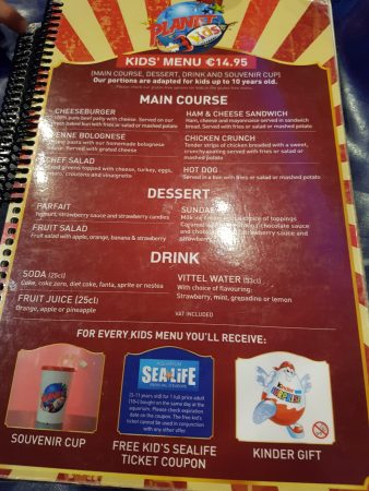 Planet Hollywood Menu