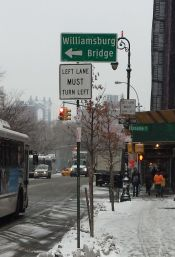 Essex Street in the LES with the Manhattan Bridge in the background