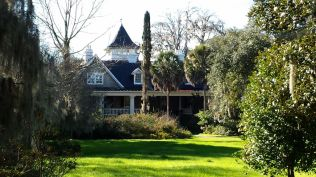Rear view of Magnolia Plantation House