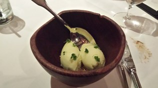 Dessert - apple sorbet with crumbles