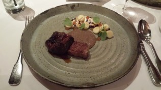 Meat course - Duo of Lamb with rye porridge, celeriac and apples