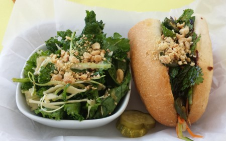 Kale Salad and Mushroom Banh Mi Sandwich at Butcher & Bee