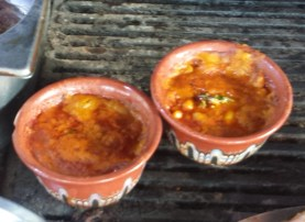Pots of Beans Cooking on the Grill