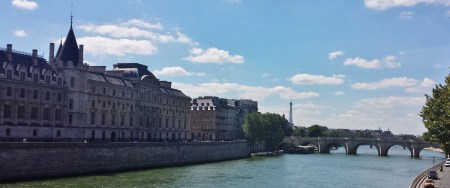 Seine River with Conciergerie, with Tour Eiffel and Pont Neuf in the Background