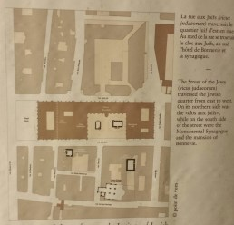Map of Jewish Quarter Showing Location of Monument Juif