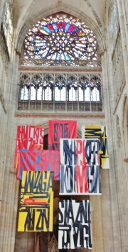 Church of St Ouen North Window with Exhibit Banners