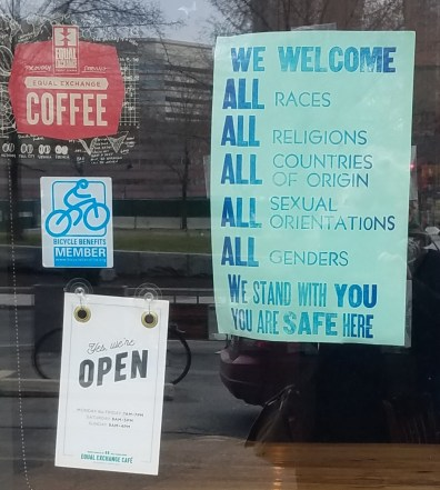Equal Exchange Cafe Signs