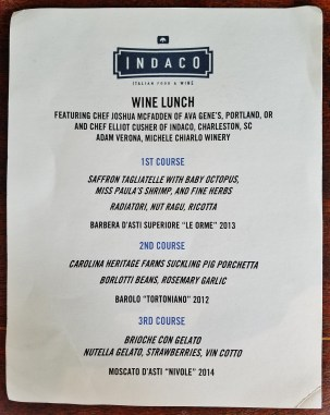 Indaco Wine Lunch Menu