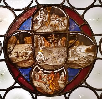 Stained Glass Quatrefoil with Hunting Scenes - German 16th Century