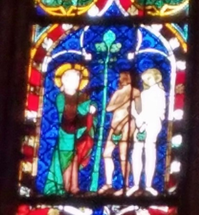 Stained Glass Detail of Adam and Eve being Expelled from Paradise