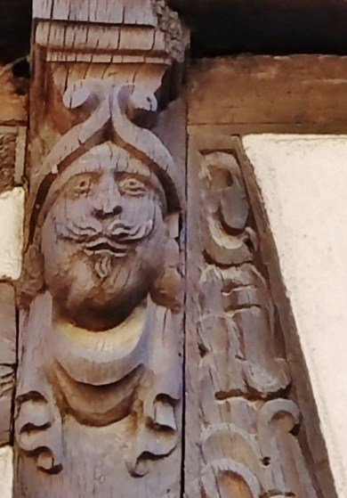 Wooden Head Carving Half-Timbered House Strasbourg
