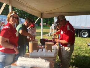 Ice cream scoopers doing a great job at 2017 Kewaunee County Breakfast on the Farm