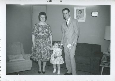Little Peggy & big brother Jim with their cousin Karen Havel (Koss) on the left (5th generation Junion Homestead Farm) June 1961