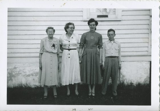 4 Generations of Deprey's (L to R): ? (matriarch whose name escapes us), Josephine Deprey, Magdalene Junion (Deprey), and Jim Junion (4th & 5th Generation Junion Homestead Farm)