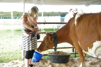The petting zoo allow the kids to experience the farm's love of animals.