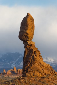 Balanced Rock in Arches National Park near Moab, Utah. La Sal mountains are visable in the background.
