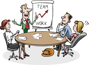 cartoon style business meeting to start a successful business with 4 people 3 sitting one presenting with whiteboard in background