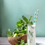Coconut Mojito Drink with rum, coconut milk, lime, and mint.