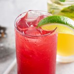 Tropical Fruit Moijito in a tall glass with guava, coconut rum, lime, club soda