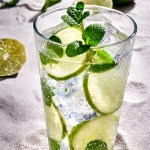 Tall glass of Vodka Mojito Drink withVodka, club soda, mint, and lime. Garnished with mint leaves and lime slices.