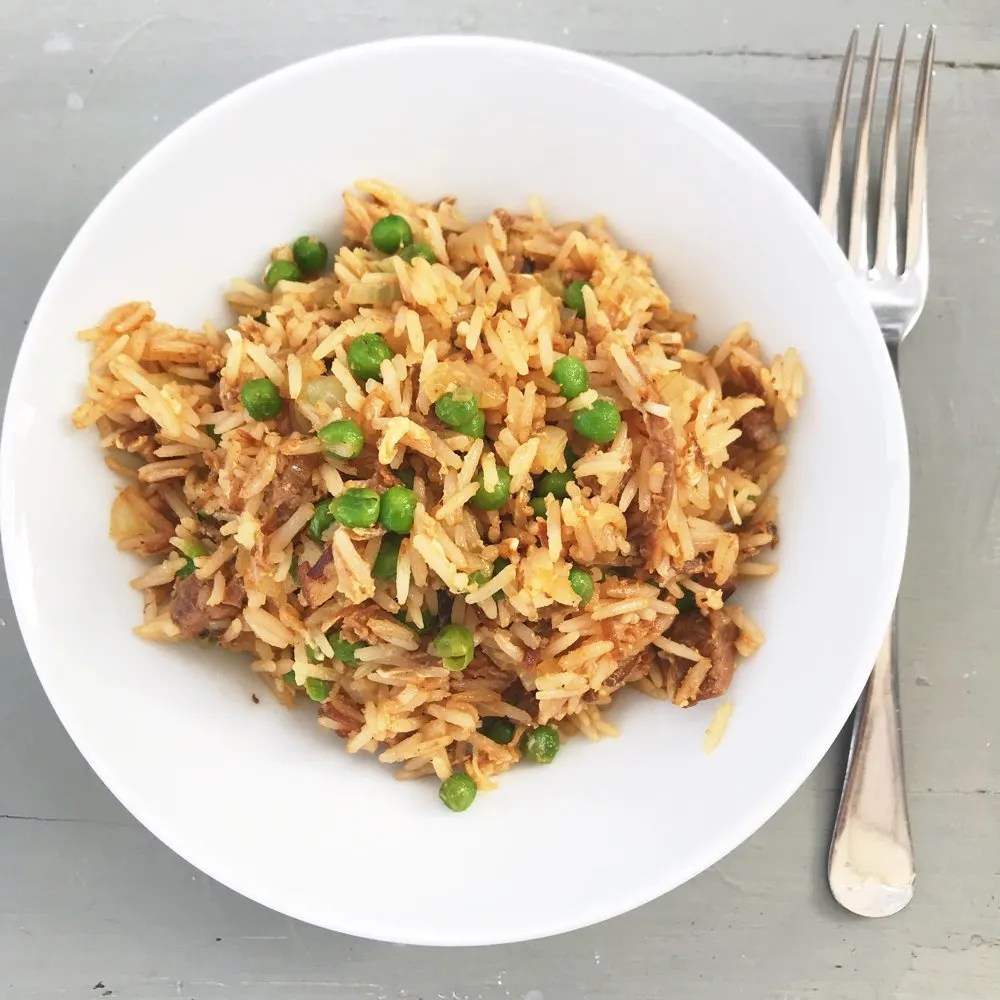 Really quick beef fried rice