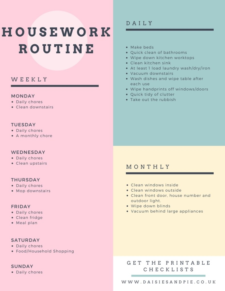 Easy housework routine you can adapt to suit your own need, homemaking tips, home cleaning schedule, home cleaning printables