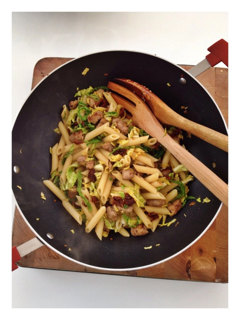 Sausages and cabbage pasta
