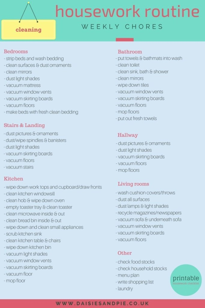 weekly housework checklist, weekly home cleaning list, housework schedule, how to organise housework , homemaking tips, easy housework routine, homekeeping printable checklist, cleaning checklist, homekeeping from daisies and pie