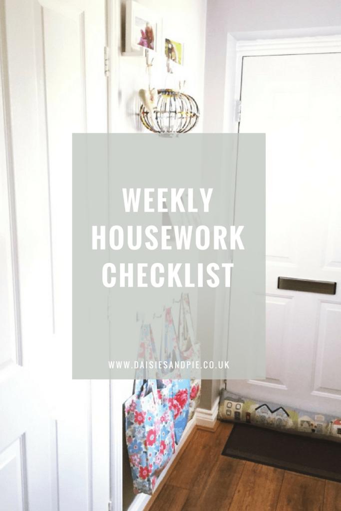 Weekly housework checklist, homekeeping printables, cleaning tips