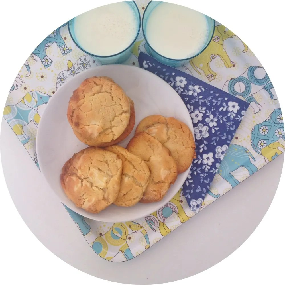 Delicious chewy white chocolate cookies