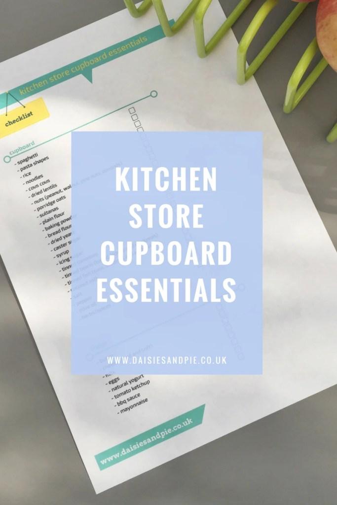 Kitchen store cupboard essentials, kitchen basics checklist, homemaking printable