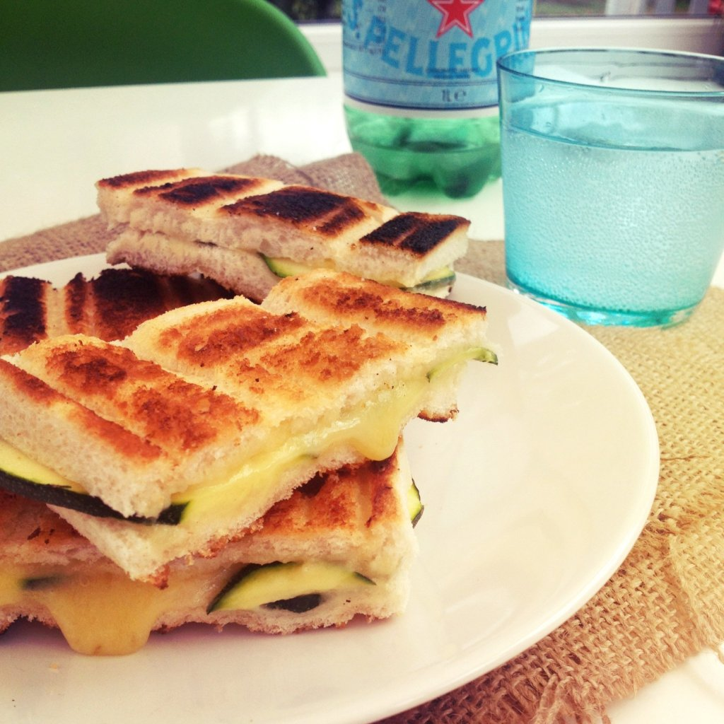 Toasted cheese sandwich with courgette