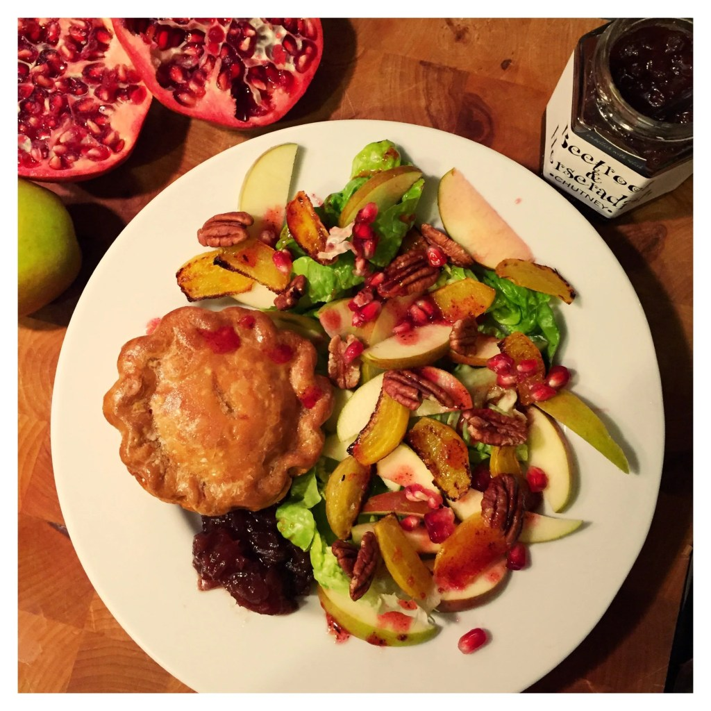 Autumn salad with apples and roast beetroot, delicious quick salad to serve with Bray's Cottage pork pies or roast ham, easy family food from Daisies and Pie