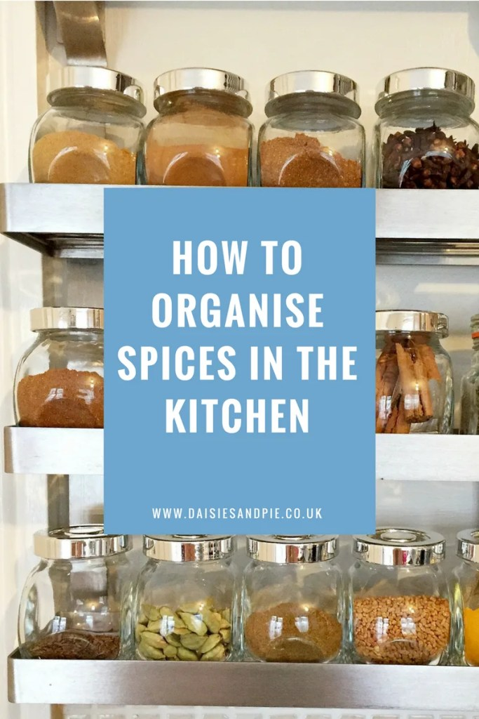 How to organise spices in the kitchen,  kitchen organisation tips, homemaking tips.