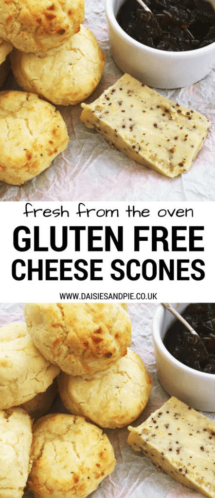 "small pile of gluten free cheese scones with a block of mustard seed speckled cheddar cheese and pot of ploughman's chutney with a spoon. Text overlay saying ""fresh from the oven gluten free cheese scones"""