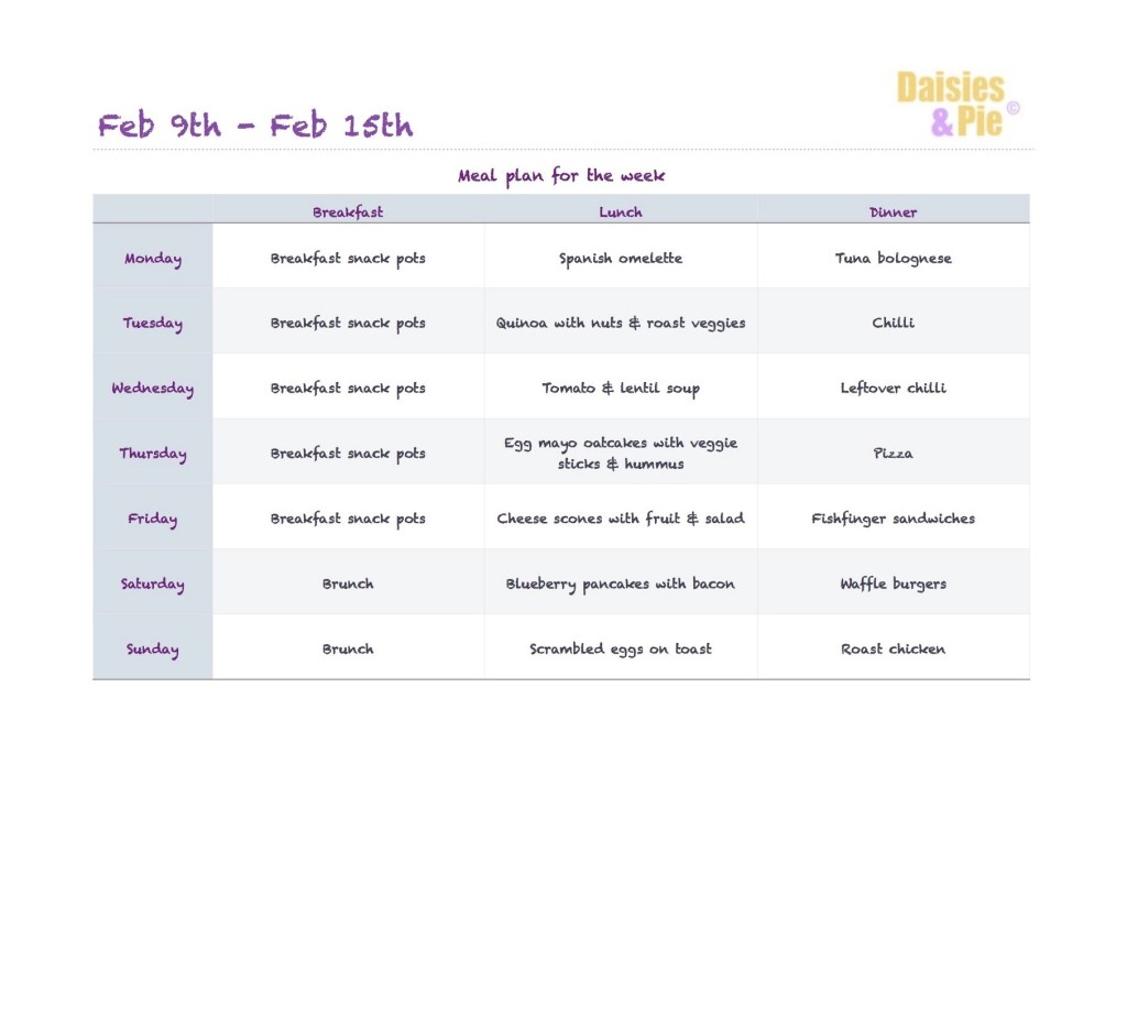 Family meal plan 9th Feb 2015