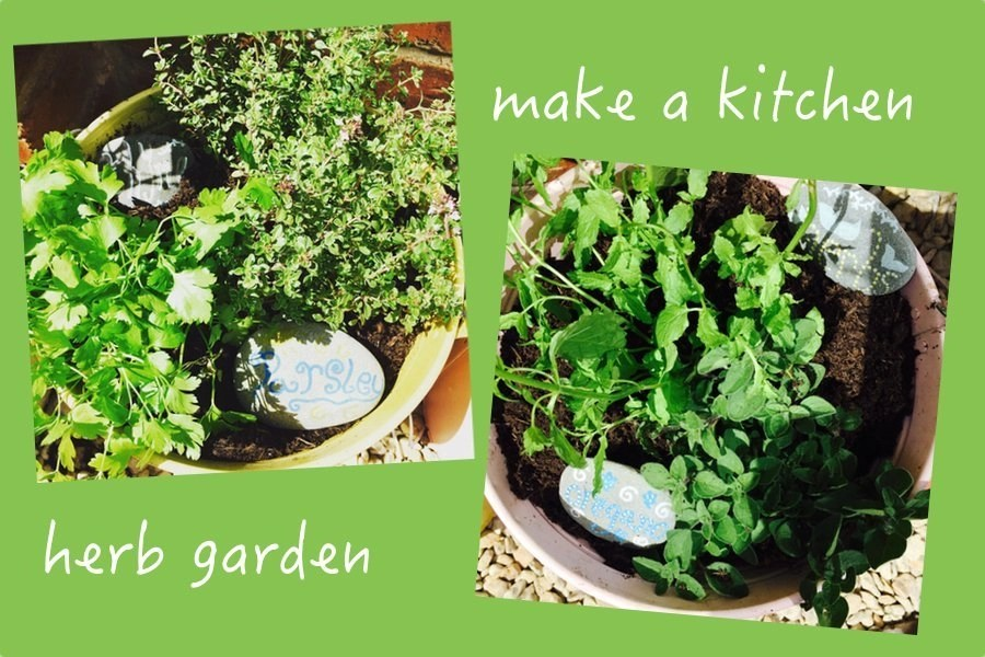plant a kitchen herb garden, how to make a herb garden, culinary herb garden, how to make stone plant markers, plant it grow it eat it, easy family food from daisies and pie