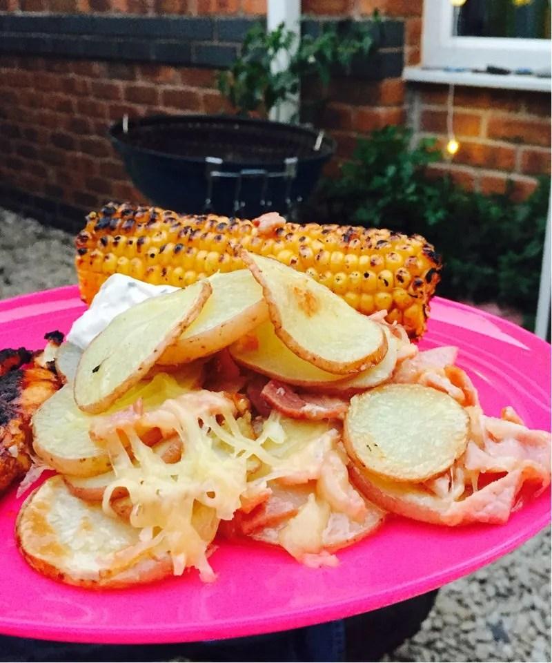 potato scallops with bacon and cheese, easy potato recipe, quick meal idea, easy family food