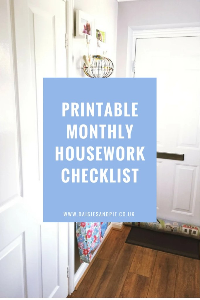 Printable monthly housework checklist, cleaning tips, homemaking tips, home organisation