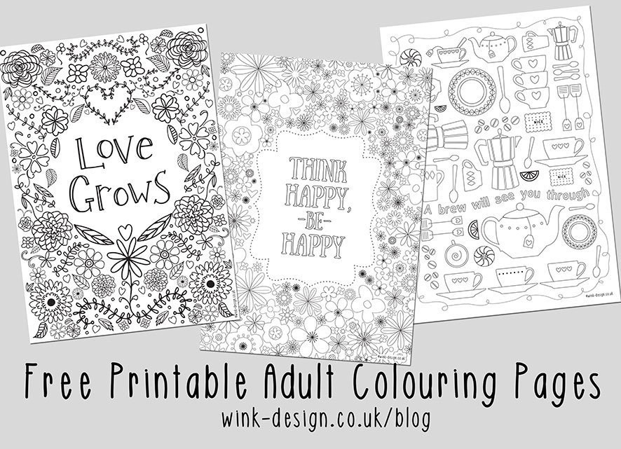 three colouring sheets for adults with floral design kitchen utensils and inspirational quotations - Inspirational Coloring Pages For Adults