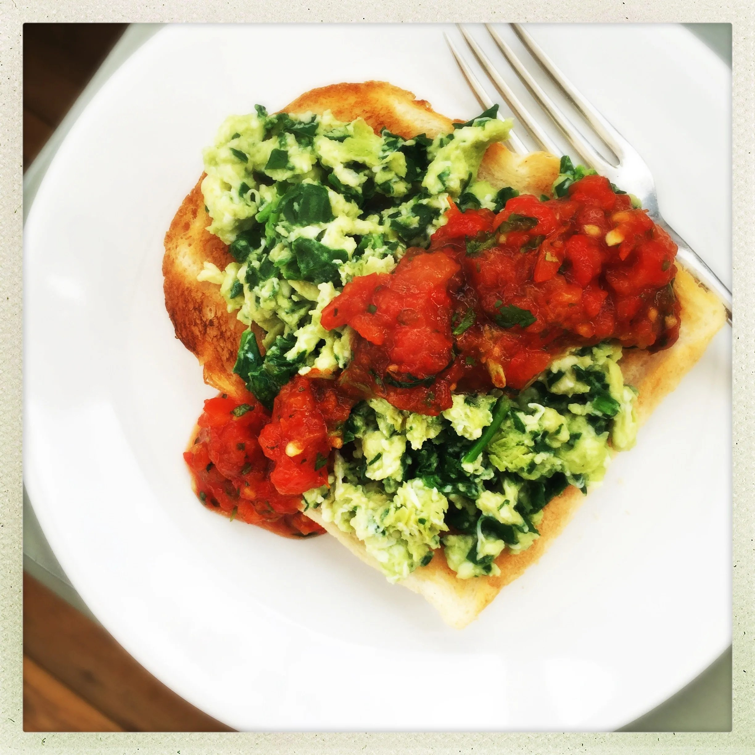 Green eggs on toast